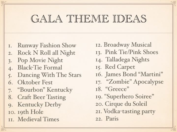 gala theme ideas for 2017 for fundraising fun impact auctions
